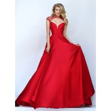 Sexy Front Cut Out Open Back Red Satin Beaded Prom Dress Cap Sleeves