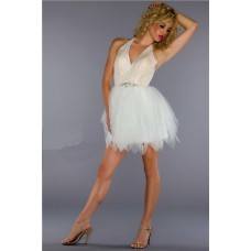 Sexy Halter Short/ Mini Nude Sequin Ivory Tulle Cocktal Prom Dress Low Back