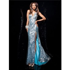 Sexy Halter V Neck Long Blue Sequined Prom Dress With Beaded Rhinestone Silt