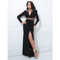 Sexy High Neck Front Keyhole Backless Long Sleeve Black Chiffon Evening Prom Dress