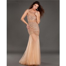 Sexy Mermaid Bateau Neck Cut Out Backless Champagne Tulle Beaded Prom Dress