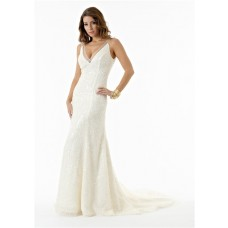 Sexy Mermaid Deep V Neck And Back Ivory Sequin Sparkly Wedding Dress With Train