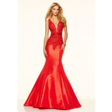 Sexy Mermaid Deep V Neck Low Back Red Taffeta Lace Beaded Prom Dress