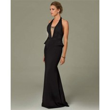 Sexy Mermaid Halter Plunging Neckline Backless Long Black Evening Dress