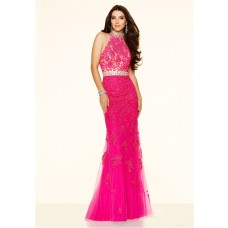 Sexy Mermaid High Neck Backless Long Hot Pink Lace Prom Dress