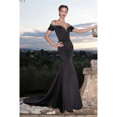 Sexy Mermaid Off The Shoulder Low Back Black Satin Prom Dress With Shawl