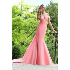 Sexy Mermaid Off The Shoulder Low V Back Light Coral Satin Evening Occasion Dress
