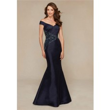 Sexy Mermaid Off The Shoulder Navy Blue Satin Beaded Special Occasion Evening Dress