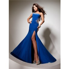 Sexy Mermaid One Shoulder Backless Long Royal Blue Chiffon Prom Dress With Beading Slit