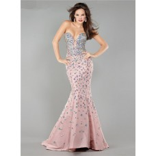 Sexy Mermaid Plunging Neckline Blush Pink Taffeta Beaded Prom Dress