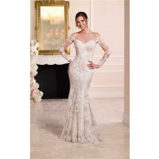 Sexy Mermaid Sheer Illusion Neckline Tulle Lace Long Sleeve Wedding Dress