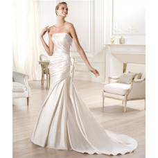 Sexy Mermaid Strapless Off The Shoulder Low Back Satin Ruched Wedding Dress