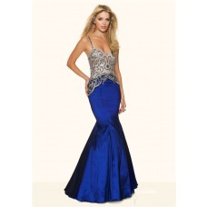 Sexy Mermaid Sweetheart Low Back Royal Blue Taffeta Beaded Prom Dress Spaghetti Straps