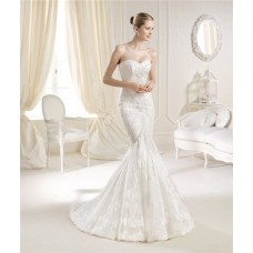 Sexy Mermaid Sweetheart Neckline Venice Lace Wedding Dress Sweep Train