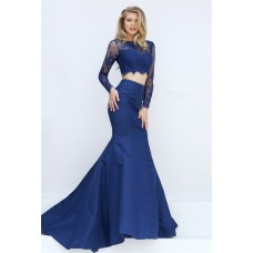 Sexy Mermaid Two Piece Long Sleeve Navy Blue Lace Satin Evening Prom Dress