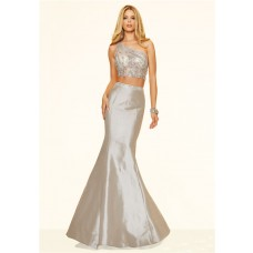 Sexy Mermaid Two Piece One Shoulder Silver Taffeta Beaded Prom Dress