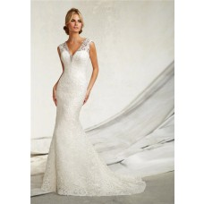 Sexy Mermaid V Neck Cap Sleeve Venice Lace Wedding Dress With Crystals Buttons