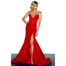 Sexy Mermaid V Neck Long Red Taffeta Beaded Occasion Evening Prom Dress With Slit