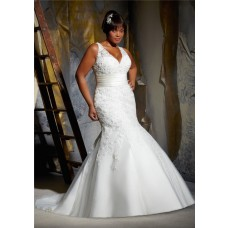 Sexy Mermaid V Neck Organza Lace Beaded Plus Size Wedding Dress With Belt Train