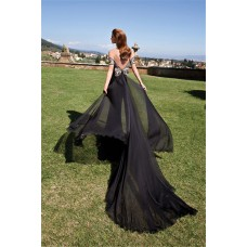 Sexy Off The Shoulder Low Back Black Chiffon Evening Prom Dress With Train