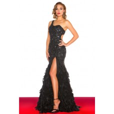 Sexy One Shoulder Backless Long Black Feather Beaded Prom Dress Slit Open Back