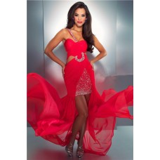 Sexy One Shoulder High Low Hem Side Cut Out Red Chiffon Beaded Prom Dress