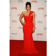 Sexy One Shoulder Long Kim Kardashian Red Dress Lacma