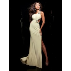 Sexy One Shoulder Long Light Yellow Chiffon Beading Prom Dress With Cut Out Silt