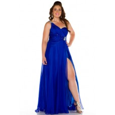 Sexy One Shoulder Long Royal Blue Chiffon Beaded Plus Size Party Prom Dress With Slit