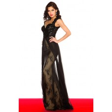Sexy Sheath Cap Sleeve Backless Long Black Lace Beaded Sequin Evening Prom Dress