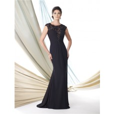 Sheath Cap Sleeve Sheer See Through Black Lace Chiffon Mother Of The Bride Evening Dress