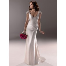 Sexy Sheath Deep V Neck Cap Sleeve Backless Ivory Satin Wedding Dress