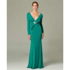 Sexy Sheath Deep V Neck Long Sleeve Green Occasion Evening Dress With Bow