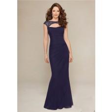 Sexy Sheath Front Cutout Open Back Navy Blue Chiffon Beaded Evening Dress