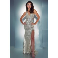 Sexy Sheath Halter Backless Side Cut Out Slit Long Champagne Sequin Prom Dress