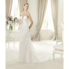 Sexy Sheath Halter Low Back Ruched Chiffon Beaded Wedding Dress