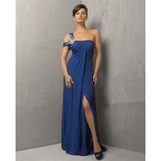 Sexy Sheath Off Shoulder Long Navy Blue Chiffon Evening Dress With Split