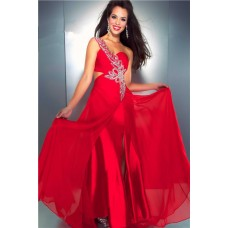 Sexy Sheath One Shoulder Side Cut Out Slit Long Red Chiffon Beaded Sequin Prom Dress