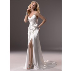 Sexy Sheath Spaghetti Strap V Neck Backless Satin Wedding Dress With Slit