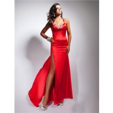Sexy Sheath Sweetheart Backless Long Red Silk Prom Dress With Straps Beading Slit