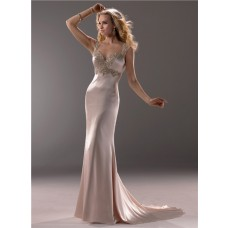 Sexy Sheath Sweetheart Champagne Colored Satin Beaded Wedding Dress Open Back