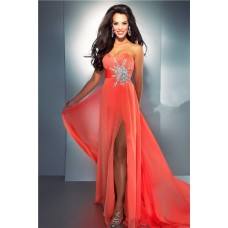 Sexy Sheath Sweetheart Long Coral Chiffon Beaded Evening Prom Dress With Slit