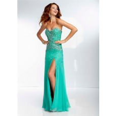 Sexy Sheath Sweetheart Long Green Chiffon Beaded Crystal Prom Dress With Slit