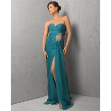 Sexy Sheath Sweetheart Long Teal Chiffon Beaded Evening Dress With Slit