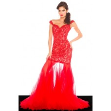 Sexy Sheath Sweetheart Off The Shoulder Long Red Tulle Lace Beaded Prom Dress