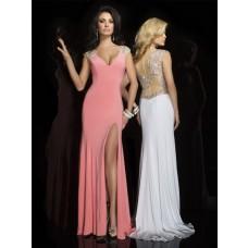 Sexy Sheath V Neck Cap Sleeve Sheer Back Long Coral Chiffon Beaded Prom Dress