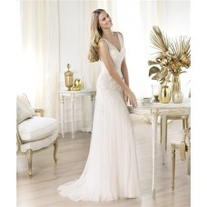 Sexy Sheath V Neck Sheer Straps Tulle Wedding Dress With Lace Applique