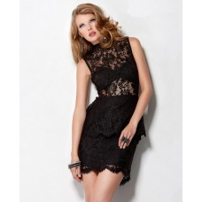 Sexy Sheer Short/Mini Little Black Lace Peplum Party Cocktail Dress Backless