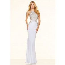 Sexy Slim Backless Long White Beaded Evening Prom Dress