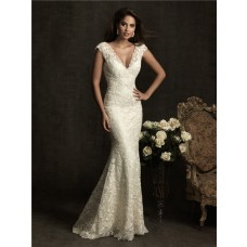 Sexy Slim Mermaid Cap Sleeve V Neck Low Back Ivory Venice Lace Wedding Dress